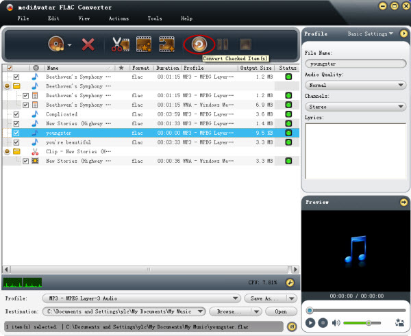 Convertin FLAC to MP3, WAV, M4A, AIFF, WMA